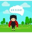 Kid in fancy ladybug dress vector image vector image