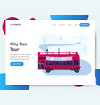 landing page template city bus tour concept vector image