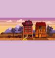 landscape sunset summer buildings home cafe vector image vector image