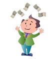 man showering in dollar bills vector image vector image