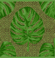 monstera leaves on leopard background seamless vector image