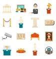 Museum Decorative Flat Color Icons Set