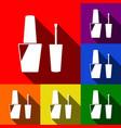 nail polish sign set of icons with flat vector image vector image