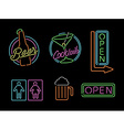 Neon light sign set icon retro bar beer open label vector image