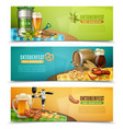 oktoberfest beer 3 horizontal banners set vector image