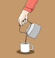 one hand holds a kettle with coffee color vector image
