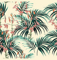pattern orange lilies flowers and green palm vector image vector image