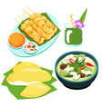 popular thai green curry food set vector image vector image