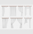 realistic white window curtains and drapes vector image vector image