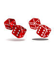 red dice with white pips on white background vector image