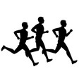 running or jogging male silhouettes vector image