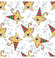 seamless pattern with funny dog vector image