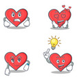 set of heart character with angry love waiting vector image