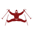 skier flat icon vector image