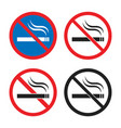 smoking is prohibited icon set no smoking signs vector image vector image