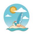summer and beach cute cartoons vector image vector image