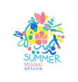 summer logo original design colorful hand drawn vector image vector image