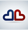 two blue and red hearts love icon isolated on vector image vector image