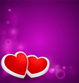 Two hearts on the background vector image