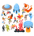 ufo and aliens isometric set vector image vector image