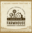 vintage countryside farmhouse label vector image vector image