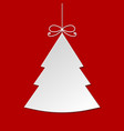 white christmas tree with shadow isolated on red b vector image vector image