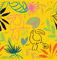 yellow jungle tucan seamless pattern background vector image