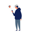 young man or teenager wearing cap chatting online vector image vector image
