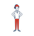 young man standing character person vector image vector image