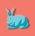 paper sticker on stylish background rabbit vector image