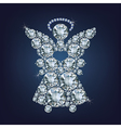 Angel with heart made up a lot of diamonds vector image