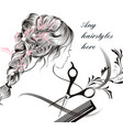 beautiful young longhaired girl comb vector image