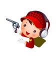 Boy shooting pistol vector image vector image
