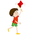 Boy with red flag vector image vector image