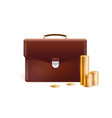 briefcase with stacks golden coins isolated on vector image