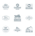 building cargo logo set simple style vector image vector image