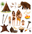 cavemen decorative icons set vector image vector image