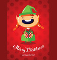 christmas card with a cute christmas elf vector image vector image