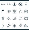 christmas icons set with bells christmas tree vector image vector image