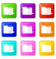 computer worm icons 9 set vector image vector image