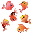 cute golden fish on transparent background vector image vector image