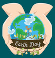 earth day happy planet surrounded clouds in vector image