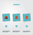 flat icons waistcoat hat apparel and other vector image vector image