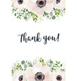 floral card watercolor design with white anemones vector image vector image
