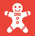gingerbread man glyph icon new year and christmas vector image vector image