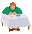 Happy cartoon man sitting with soup at the table vector image vector image
