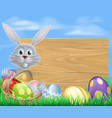 happy easter bunny and chocolate eggs sign vector image vector image