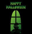 happy halloween window silhouette mummy shadow vector image vector image