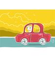 happy man driving car nature landscape vector image vector image