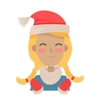 Happy Young Girl Wears Santa Claus Red Hat vector image